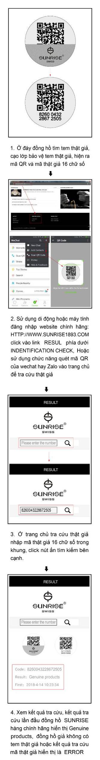 quét mã đồng hồ sunrise